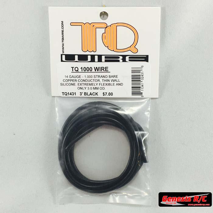 Genesis RC Raceway TQ Racing 1431 – 14 Gauge Wire 3′ Black